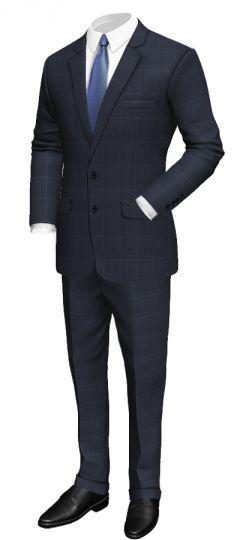 Blue windowpane suit in merino wool: Slim fit Notch lapel Side vents Blue neck lining Cuffed pants  http://www.tailor4less.com/en/collections/custom-suit/premium-suits-collection/blue-windowpane-suit-in-merino-wool