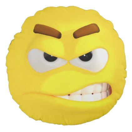 Yellow 3D Effect Angry Emoji Round Pillow - dorm decor college diy cyo personalize room unique idea