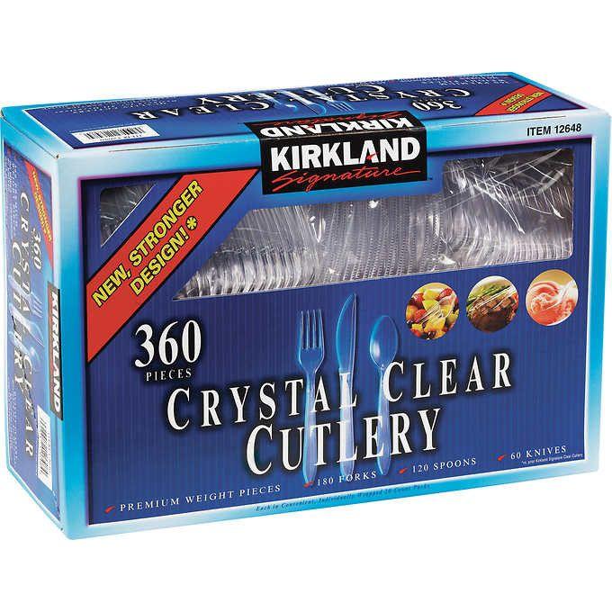 Kirkland Signature Crystal Clear Cutlery 360 Count Box