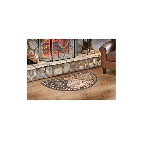 Indoor Blue Beige Floral Hearth Rug Fireplace Carpet Flower Themed Half Moon Circle Mat Use at Cabin Lodge Cottage Country Southwestern Hand Tufted Wool Pad Ornamental Pattern 2 ft by 4 ft