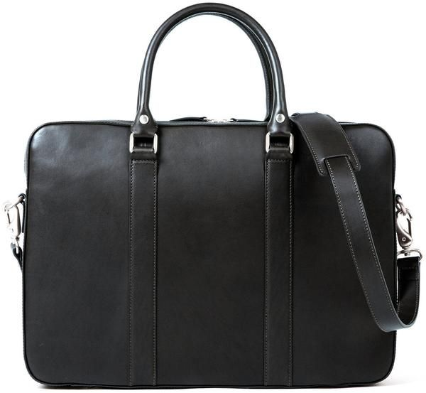 "LINJER Black leather briefcase. Made out of full-grain vegetable tanned leather. Fits 15""inch laptop."