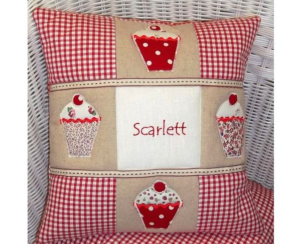 Personalised cupcake cushion in red