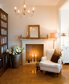 Fake fireplace with candles still provides ambience :) Cozy