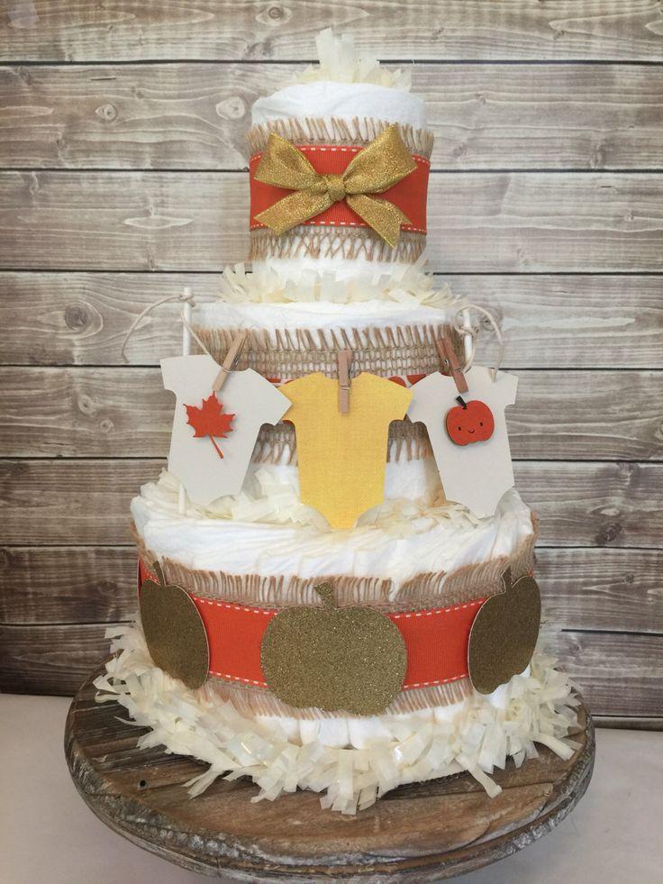 44 best little pumpkin baby shower images on pinterest for Baby diaper cake decoration