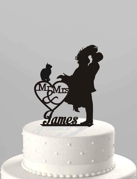 Wedding Cake Topper Silhouette Couple Mr & Mrs Personalized with Last Name and Cat, Acrylic Cake Topper [CT4ct]
