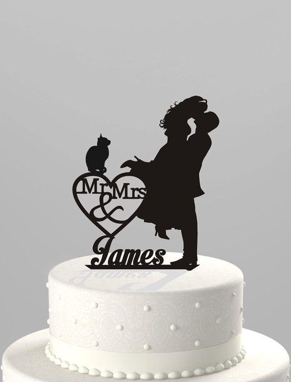 Wedding Cake Topper Silhouette Couple Mr & Mme personnalisé avec prénom et Cat, acrylique Cake Topper [CT4ct]