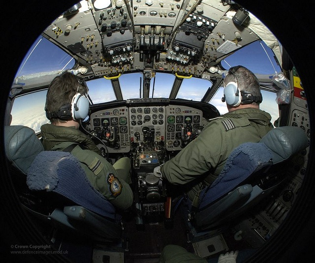RAF Pilot Training in Cockpit of Nimrod Aircraft by Defence Images, via Flickr