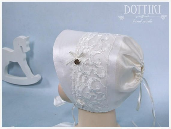 Christening Silk and Lace Bonnet  Baby Hat Baby Cap Baby