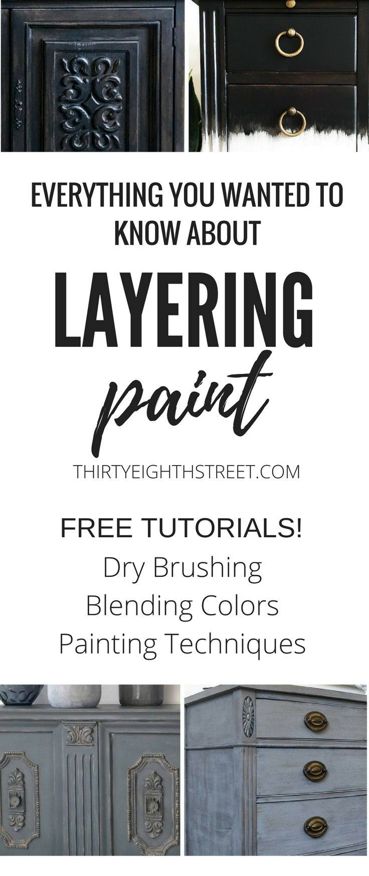 Furniture Before and After Makeover! AWESOME FREE Painting Tutorials! Learn how to layer paint on furniture. Layering Paint Techniques. Painted Furniture Ideas. Layering Paint on Furniture. Layering Paint. Layering Paint on Wood. Layering Paint Colors. Furniture Color Combos. Painted Furniture. Furniture Painting Tutorials. Dry Brushing. #thirtyeighthstreet #paintedfurniture