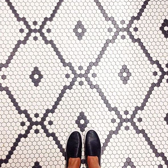 instead of pattern tiles, hexagon tiles in a pattern (link to many more examples)