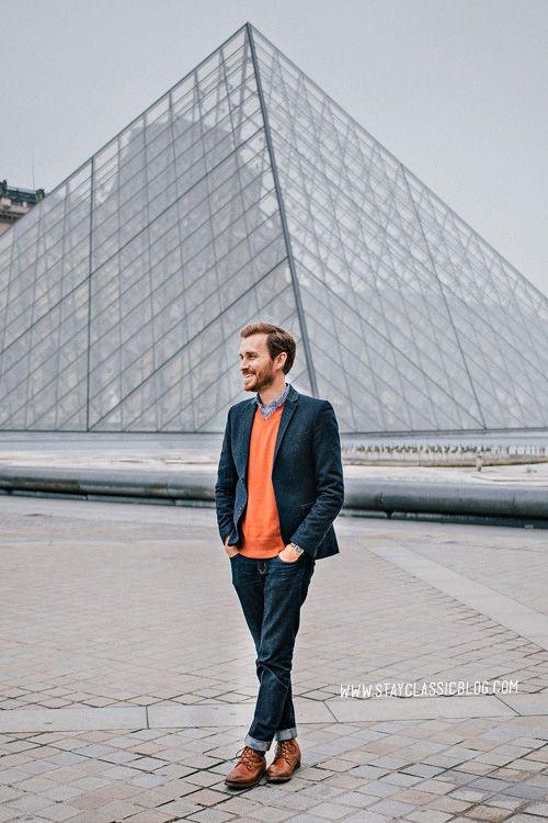 March 11, 2013. The Louvre.  Blazer: Topman - $110 (London sale)Shirt: J. Crew Factory - $29Sweater: Banana Republic Outlet - $19 (similar)Jeans:American Eagle- $26Boots: Dune - Topman - $120 (similar)Watch:Timex- Amazon - $31