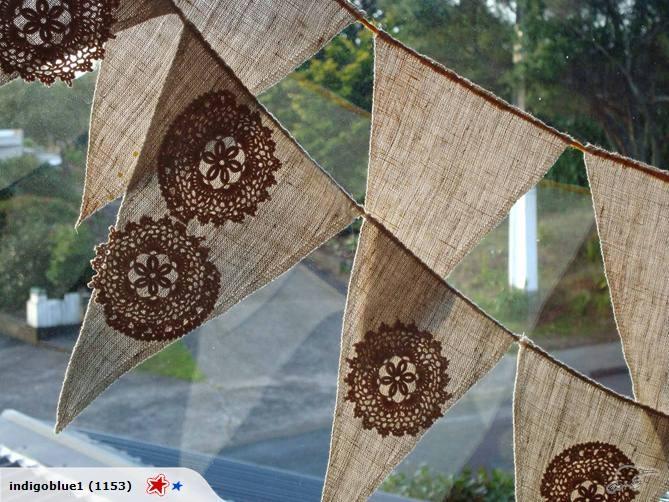 hemp bunting - appliqued vintage crochet lace: Bootiful Bunting, Bunting Garlands, Doilie Bunting, Color, Wedding Ideas, Party Idea, Dream Wedding, Crafty Ideas