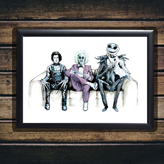Tim Burton Cast  Beetlejuice Edward by TheRealGeekGallery on Etsy