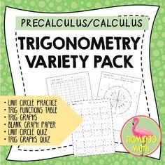If you need a variety of practice, quiz, and drill for the unit circle or basic trig function graphing, here's just the mini-bundle for you. 15 pages of blank unit circles, graph paper, trig function table, unit circle practice and unit circle quiz, as well as two basic trig graphs quizzes.