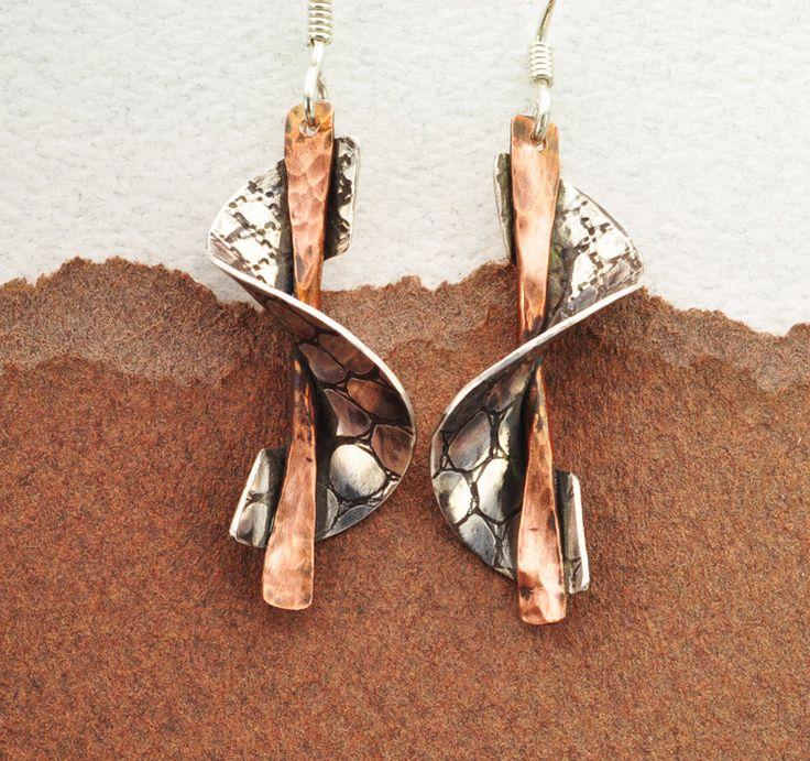 Sterling Silver Earrings, Copper Earrings, Two Tone Earrings, Handmade Earrings, Roller Print Earrings, Metal Work Earrings. $60.00, via Etsy.