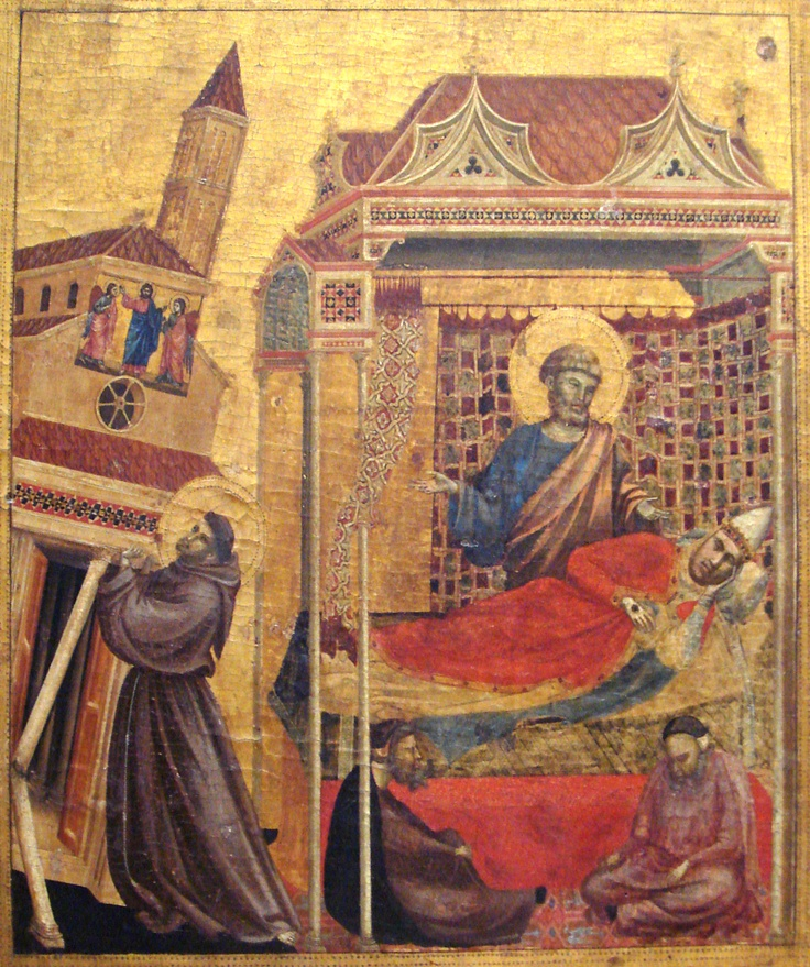 Giotto, St Francis and the dream of pope Innocent III.  Art.  Painting.