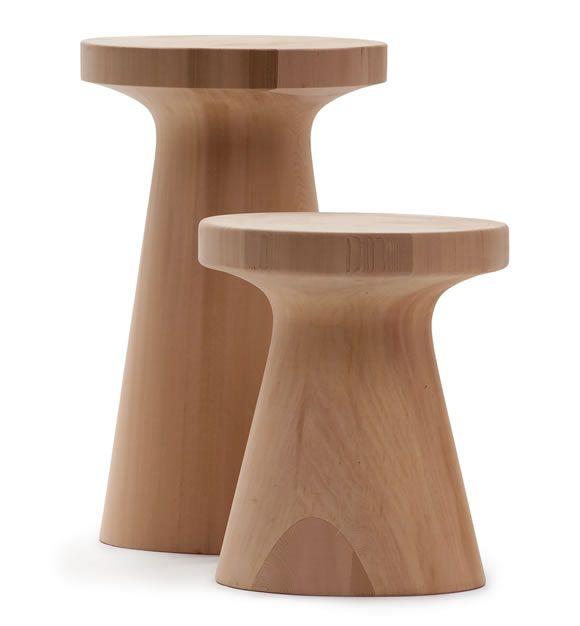 ZEN CAP, ZEN STOOL & ZEN APPLE design Ludovica+Roberto Palomba (Outdoor handcrafted from blocks of solid Canadian Red Cedar, with inlay effect.)