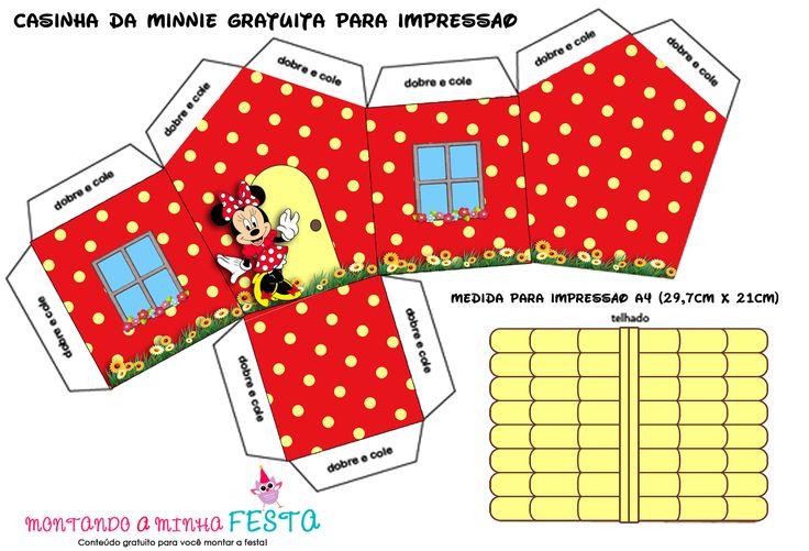 Montando minha festa: Casinha da Minnie vermelha para Imprimir e Montar!