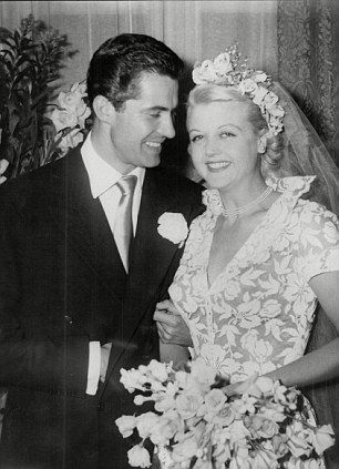 Who doesn't just adore Angela Lansbury, she was such a beautiful bride too.  In 1949 she married Peter Shaw in this stunning floral print wedding dress and faux flower crown