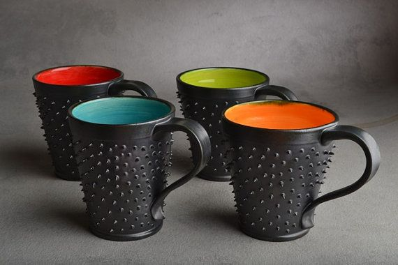 Spiky Mugs Made To Order Dangerously Spiky by symmetricalpottery, $90.00. Keep your hands off my coffee!!!