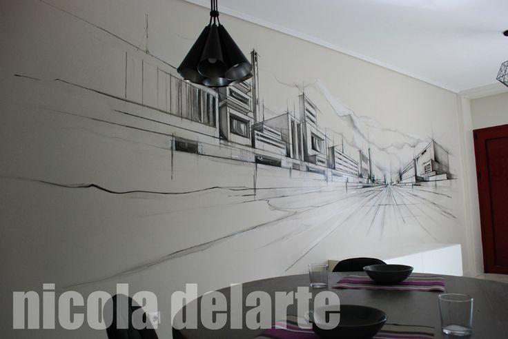 Ζωγραφική σε χώρο καθιστικού ( Κόρινθος - Νομός Κορίνθου ) Wallpainting in livingroom ( Perfecture of Korinthos ) Greece