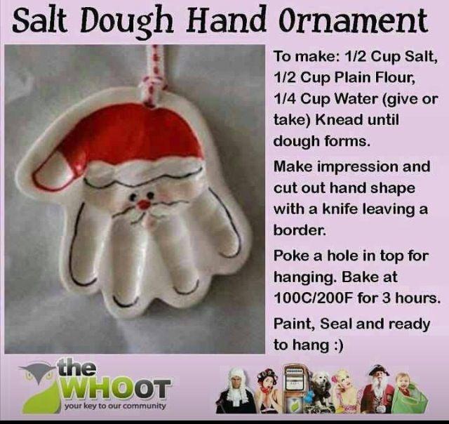 Ornament idea Salt dough hand ornament