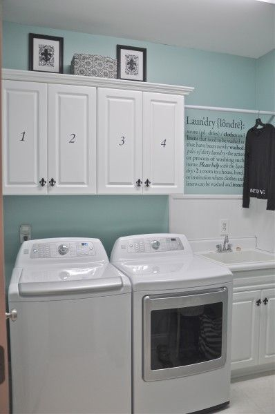This Is The Cutest Laundry Room Ever. I Love The Quote On The Wall, The  Numbered Doors Along With The Color Of The Walls And White Cabinets.
