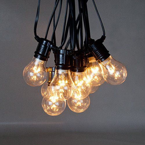 Outdoor String Lights Mains: 9m Outdoor Big Traditional LED Clear Bulb Festoon String