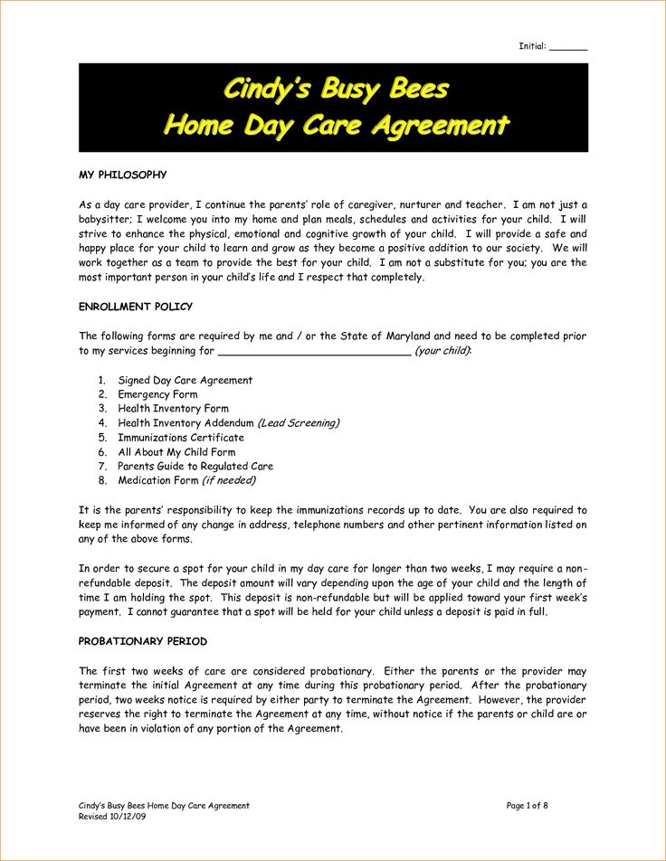 Best  Daycare Contract Ideas On   Daycare Ideas In