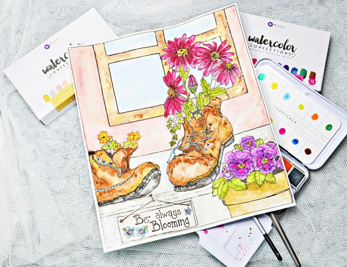 Dropping In Today For A Very Quick Post To Share 2 Watercolour Pages Created Prima Out Of The Sandi Pirrelli Behind Garden Gate Col