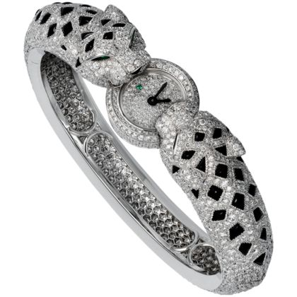 Panthères bracelet watch Quartz, white gold, diamonds, onyx, emeralds