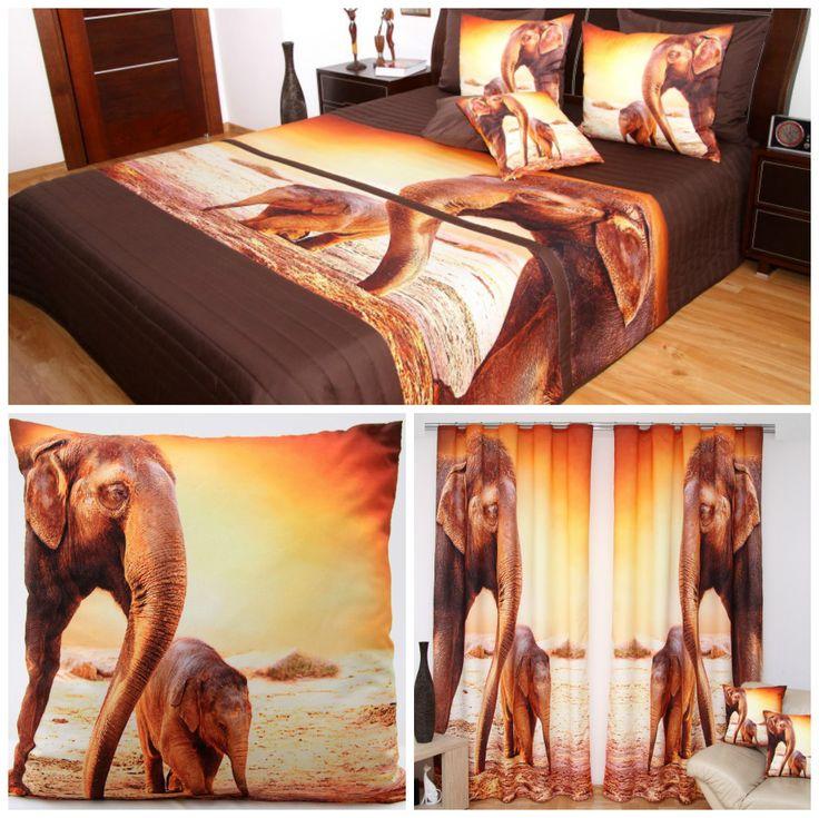 3D hnedo-oranžová  sada do spálne so slonom a sloníčaťom