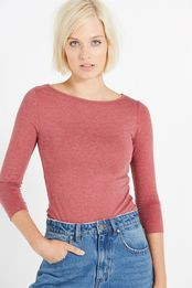 everyday boat neck 3/4 sleeve stretch top