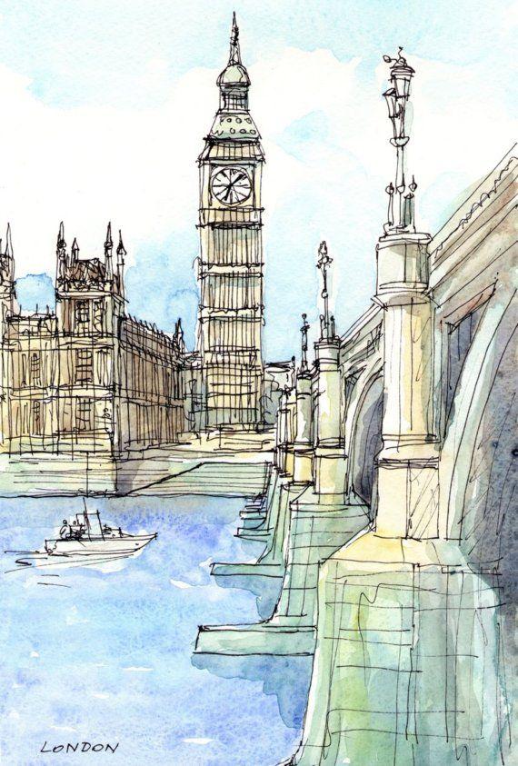 London Westminster Bridge , original watercolor via Etsy