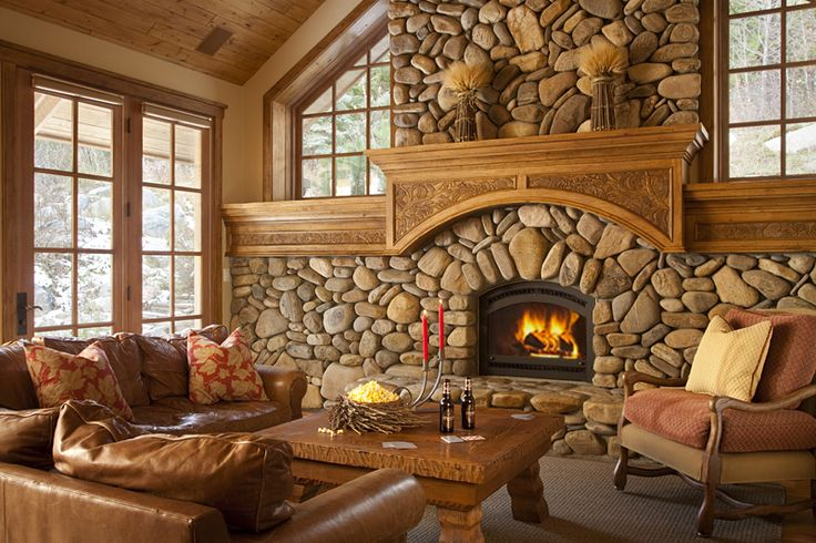 Seriously loving these river rock fireplaces.  Slopeside Après Vous Tour 1 | Luxury Vacation Rentals, Property Management | Jackson Hole, Wyoming