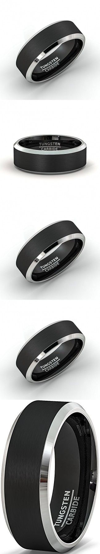 Mens Wedding Band 8mm Black Tungsten Rings Brushed Matte Finish Two Tone Beveled Edge Comfort Fit (10.5)