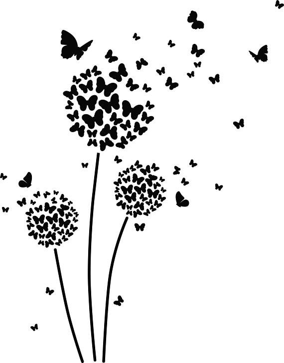 Butterfly Dandelion ai eps jpg png and svg Clipart, Vinyl, Stencil – Cricut – Silhouette Cameo