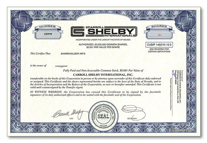Carroll Shelby Stock Gift One Real Share Cool Gift Idea
