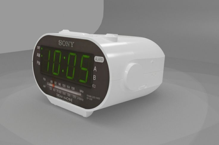 CAD 3D max Radio alarm clock rendering