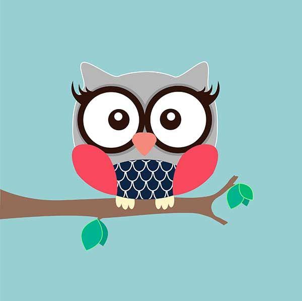 Girl Owl Art Print - Duck Egg