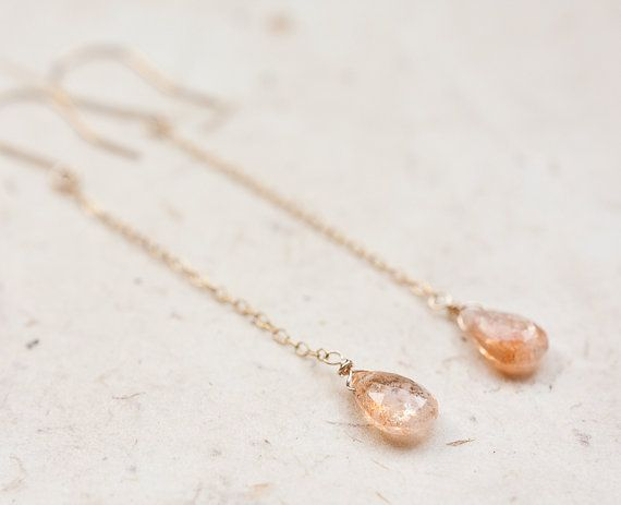 Long Dangle Earrings Sunstone 14k Gold Chain Orange by daimblond