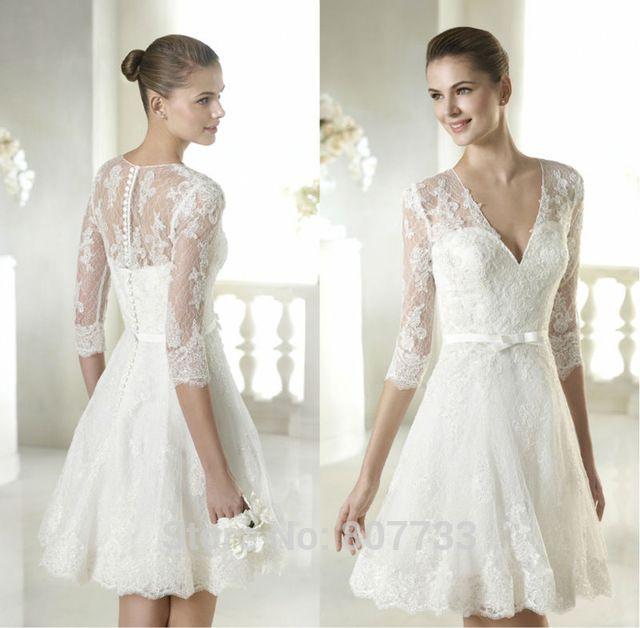 W057 nueva llegada del applique del cordón 3 4 de la manga v-cuello sexy vestidos cortos de la boda