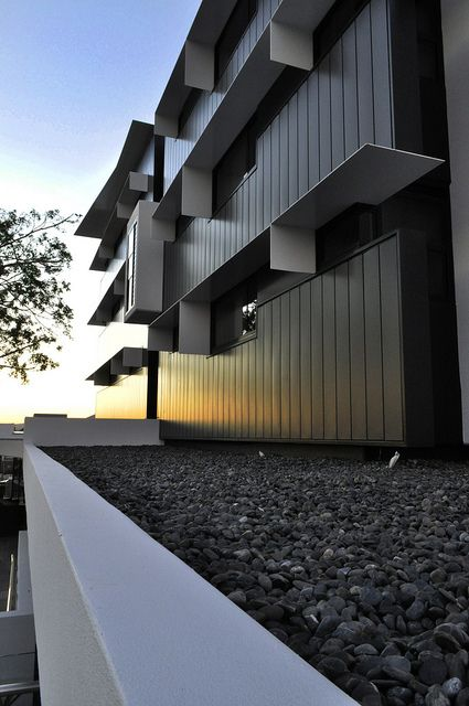 The Village @ Coorparoo, Brisbane - Retirement Village by S3 Architects    Building 1 - End Elevation Metal Cladding + Steel Awnings