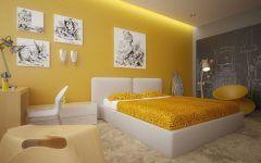 Incredible Bedroom Design Grey And Yellow