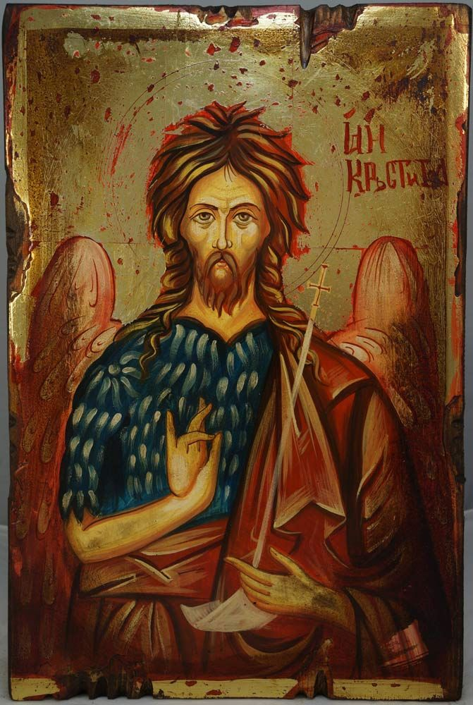 High quality hand-painted icon of John the Baptist. BlessedMart offers Religious icons in old Byzantine, Greek, Russian and Catholic style.