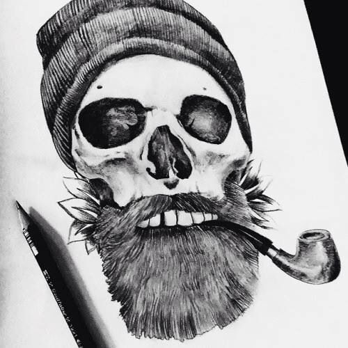 Awesome Bearded Skull Tattoo Design Pinterest