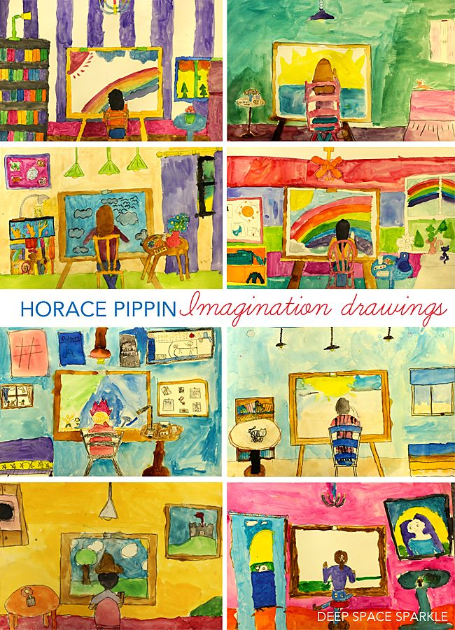 Horace Pippin Imagination Drawings, 5th or 6th grade art lesson idea