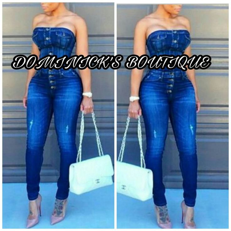 Sexy Trendy Strapless Single-breasted Blue Jean Denim One-piece Skinny Jumpsuit  | Clothing, Shoes & Accessories, Women's Clothing, Jumpsuits & Rompers | eBay!