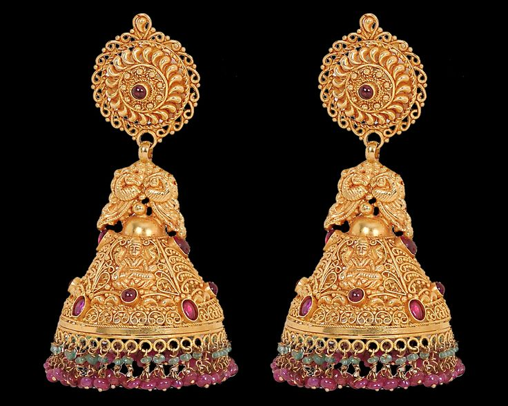 Nathella | Collections | Antique | Peacock Design Jumki with Ruby beads