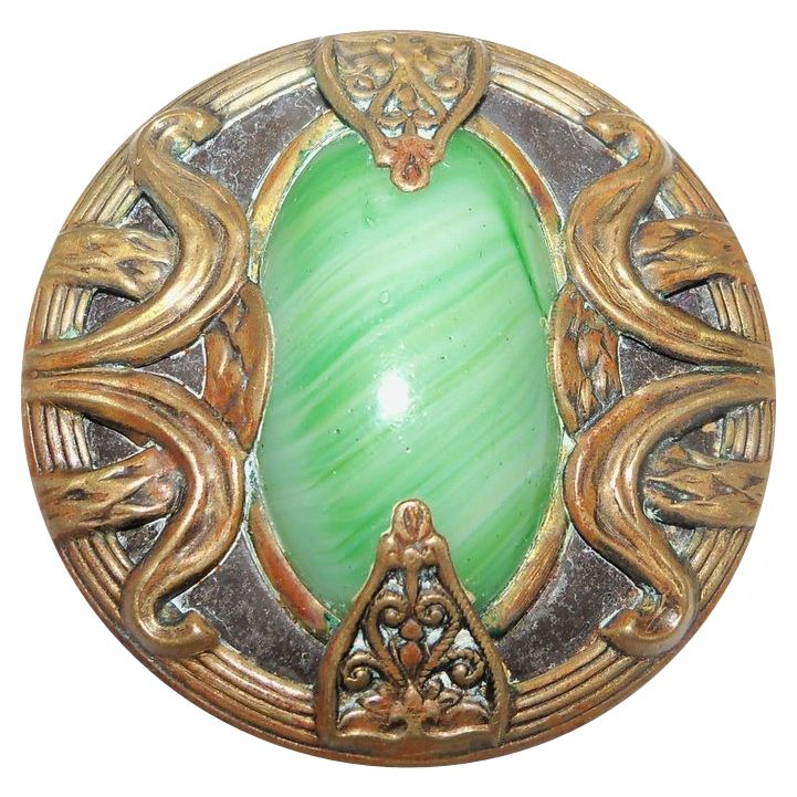 Victorian Jewelled  Green Swirled Glass Brass Coated Metal Button